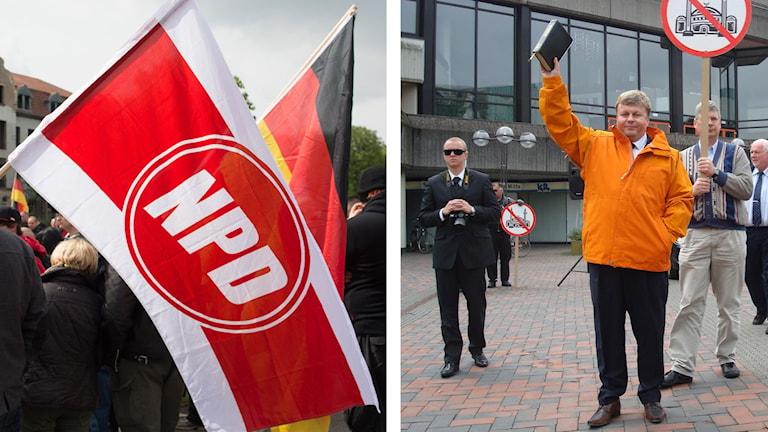 Två bilder med NPD-flaggor respektive Patrik Brinkmann.