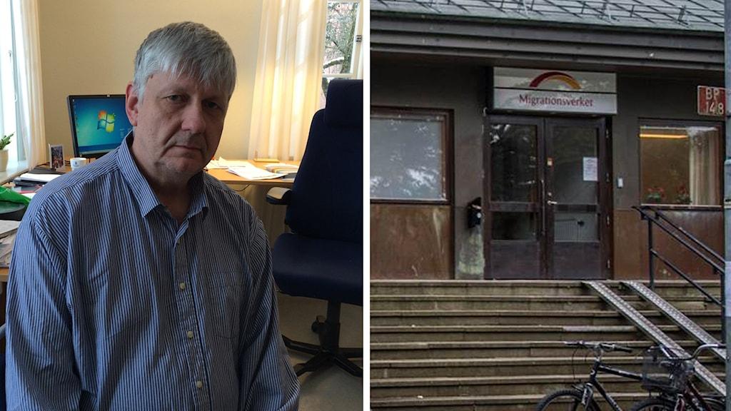 Hedemoras socialdemokratiska kommunalråd Ulf Hansson och Migrationsverkets lokaler