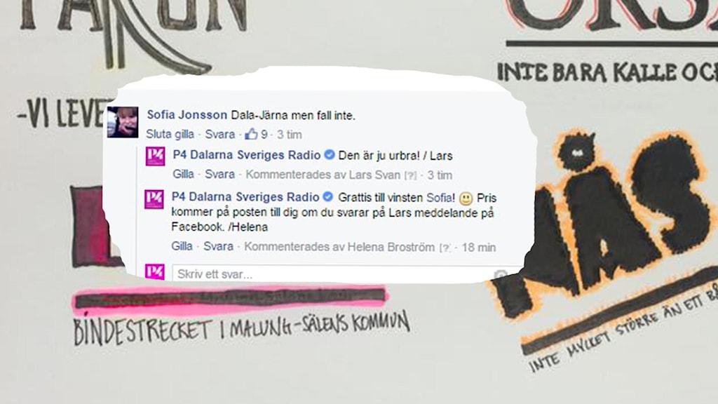 Bildkollage med bakgrund av olika kommunslogans ritade på papper. Bland annat står det: Lima - bindestrecket i Malung-Sälens kommun. Mitt i bilden är det inklippt en text från Facebook där den vinnande sloganen står: Dala-Järna men fall inte. Foto: P4 Dalarna/Sveriges Radio