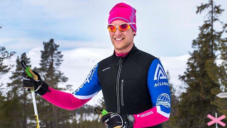 Niclas Bentzer från Falun har en låååång skidtur framför sig.