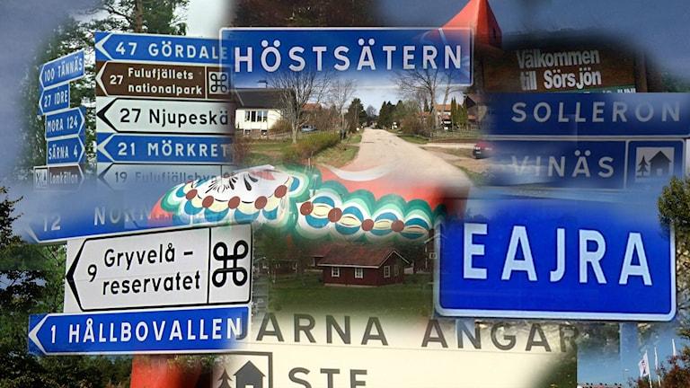 Bild på by- och ortskyltar