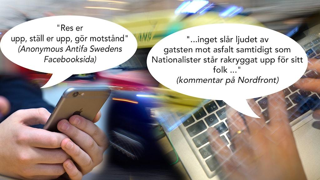Bilden är ett montage som illustrerar kommentarer på nätet mot bakgrund av utryckningsfordon.