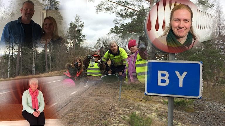 Berit Davidsson, Nico Poepe och Malice Poepe, Myra Vindahl och Ebba, Kåre, Elly och Benjamin som är lärare bor i By Kyrkby