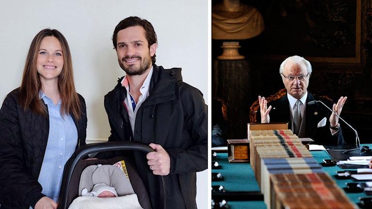 Bild på Sofia, nye prinsen och Carl Philip och bild på kungen