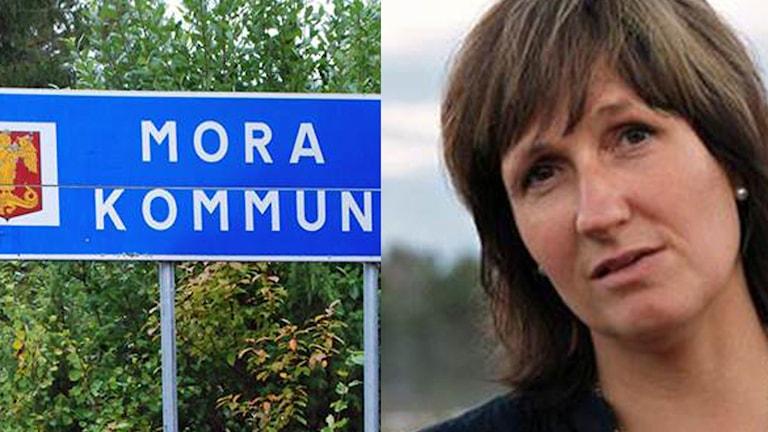 Bild på kommunskylt och på Anna Hed
