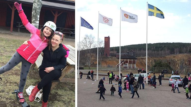 Bilden visar Saga Dofs och hennes mamma samt flaggor och människor vid Falu gruva.