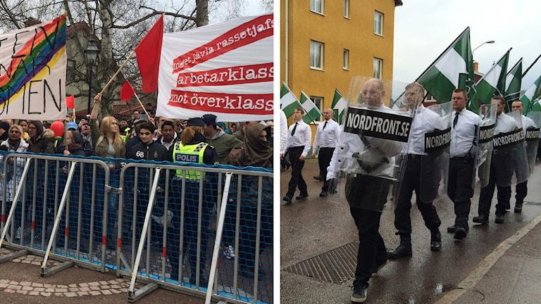 Motdemonstranter och Nordiska motståndsrörelsen