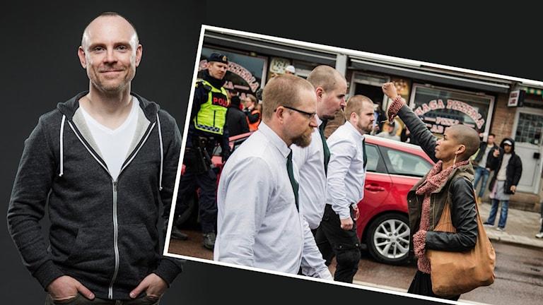 Bilden är ett montage av dels fotografen David Lagerlöf, dels den bild han tog på Tess Asplund som protesterade mot nazister under 1 maj i Borlänge.