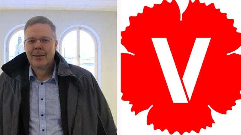 Leif Lindström och Vänsterpartiets logga