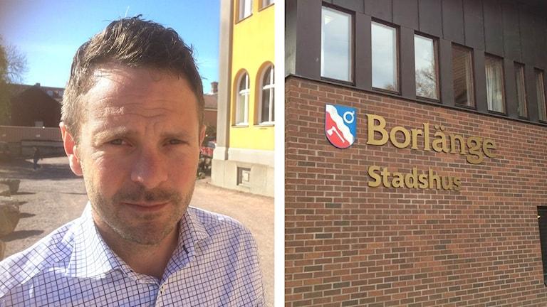 Två bilder, den vänstra på Daniel Norlander, den högra på Borlänge kommunhus.