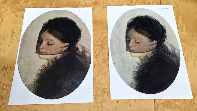 Bilden visar kopia av en originalmålning av konstnären Anders Zorn bredvid en troligen förfalskad målning av samma motiv.
