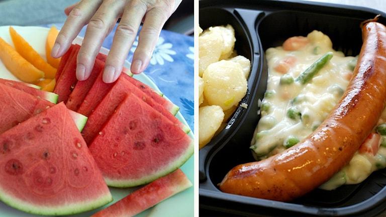 En tallrik med melon och en matlåda med korv