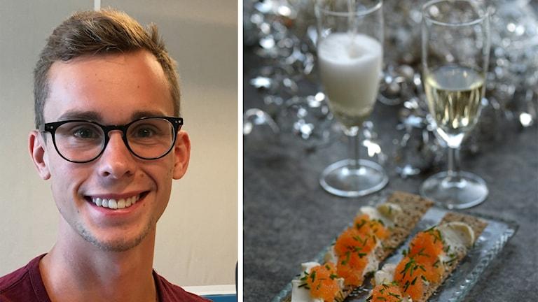 Erik Toröd och en bild på mat och vin