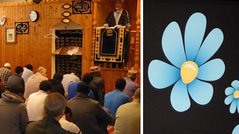 En bild från en moské i Borlänge och Sverigedemokraternas logga