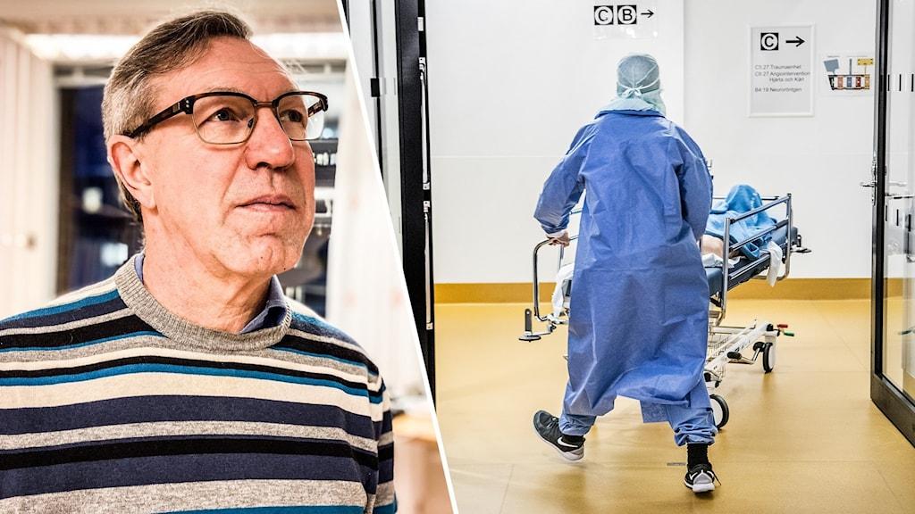 Dalarnas smittskyddsläkare Anders Lindblom och en person som kör en sjukhussäng.