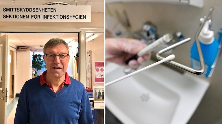 Smittskyddsläkare Anders Lindblom och provsvar på bakterier.