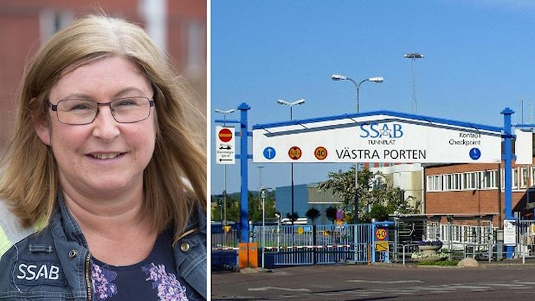 Mia Eriksson, ny platschef på SSAB, och SSAB:s västra port i Borlänge.