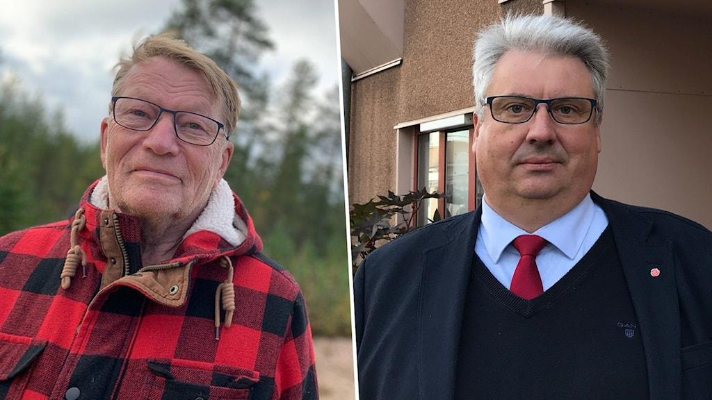 Två män i övre medelåldern, en i rödrutig jacka och en i slips.