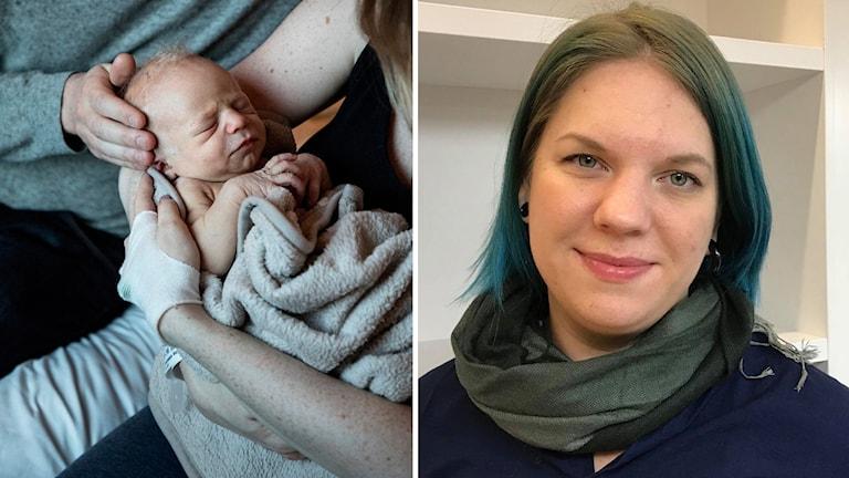 En nyfödd bebis och doktoranden Sara Kalucza.