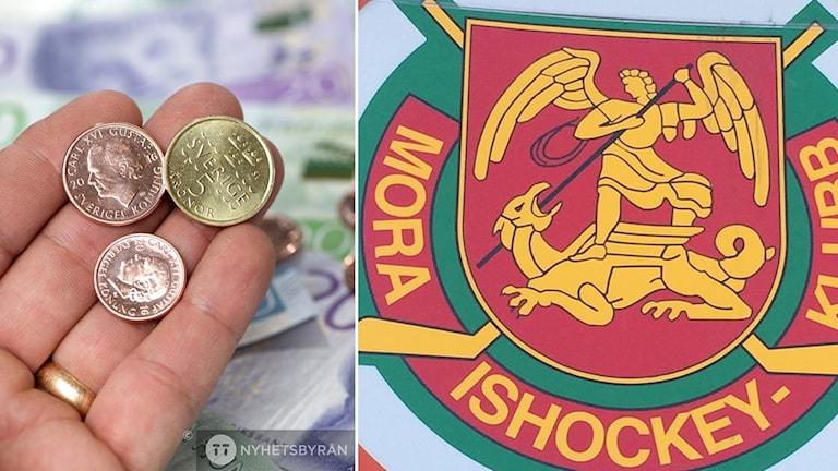 En hand som räcker fram några mynt och Mora IK:s klubblogotyp.