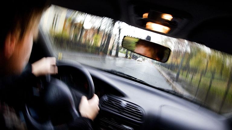 Suddig sikt ut ur bilen