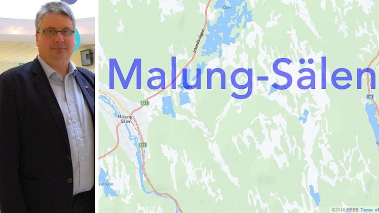 Bildmontage av dels en man i kostym, dels en karta över Malung-Sälens kommun.