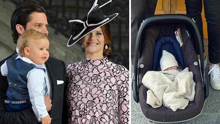 Prinsparet tillsammans med prins Alexander och nyfödde prins Gabriel.