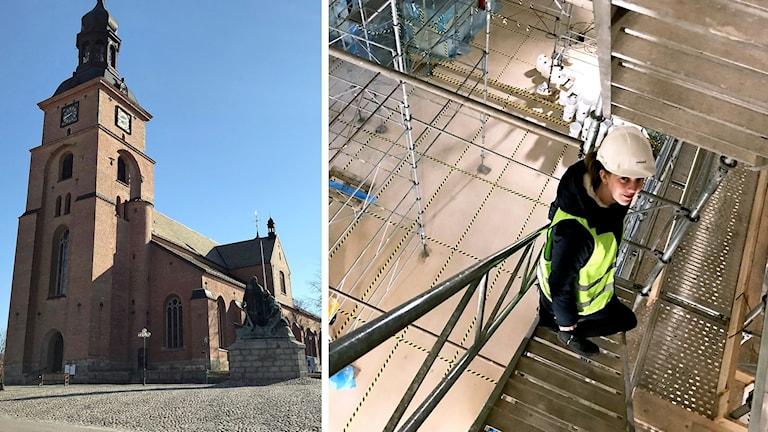 Kyrka fotograferad nedifrån, Terese Wängdahl fotograferad uppifrån när hon går i en trappa i en byggnadsställning.