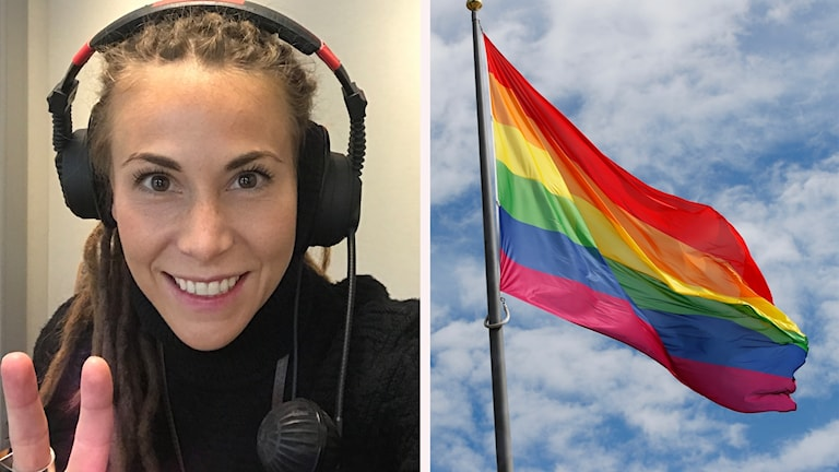 Mariette och en bild på en regnbågsflagga