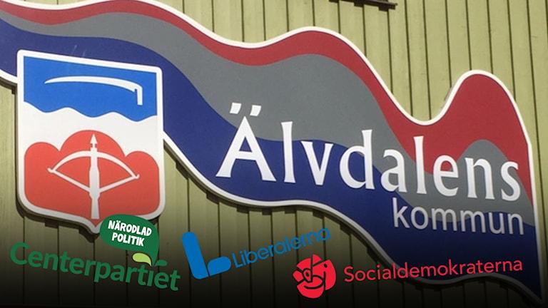Logotyper på Älvdalens kommun och Centerpartiet, Socialdemokraterna och Liberalerna.