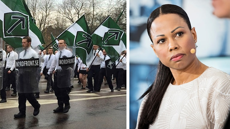 Bildsplit. På ena sidan marscherande nazister med grönvit-svarta flaggor och sköldar. På andra sidan Alice Bah Kuhnke.