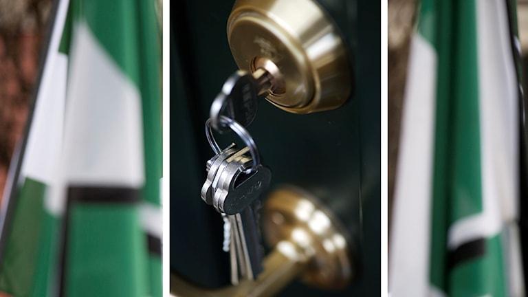 Grönvita flaggor samt nyckel i lås.
