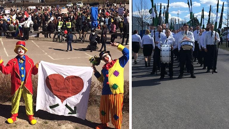 Clowner mot rasism och nazister i NMR