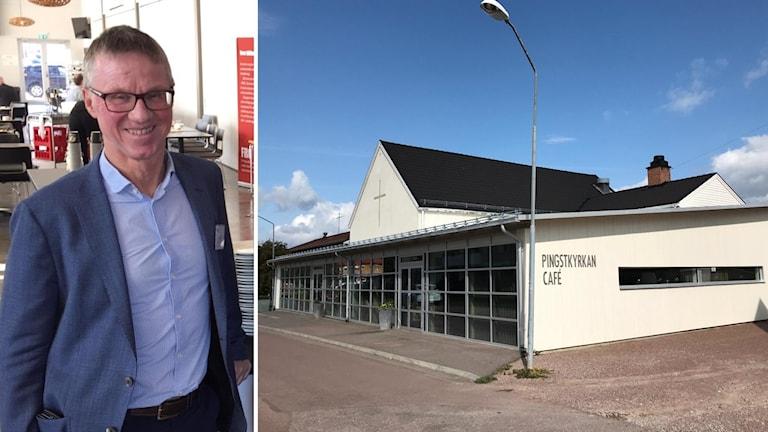 Leksands kommundirektör Gören Wigert och en bild som visar Pingstkyrkan Leksand.