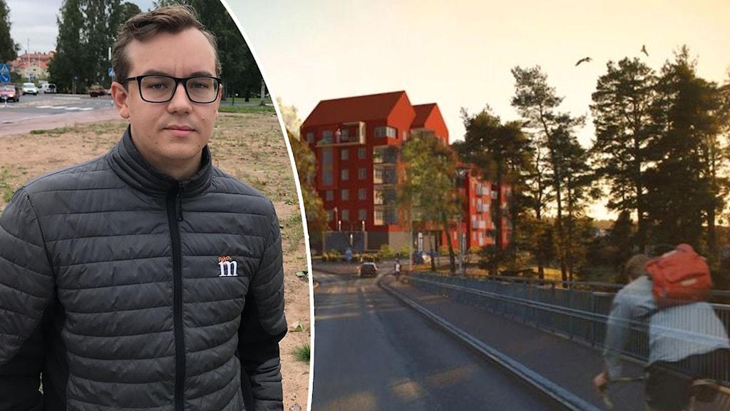 Tvådelad bild. Brunhårig man med svart jacka med moderat-loggan. Arkitektritning som visar väg och röda sexvåningshus.