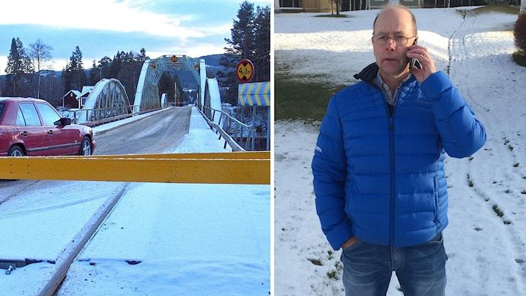 Oxbergsbron i vintertid och Vasaloppets Tommy Höglund