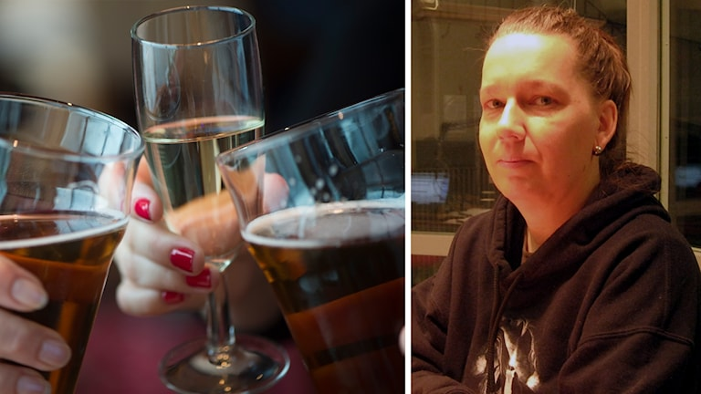 Personer som skålar i öl och champagne och Nina Stahre från Stora Skedvi som säger nej till alkohol på jul.