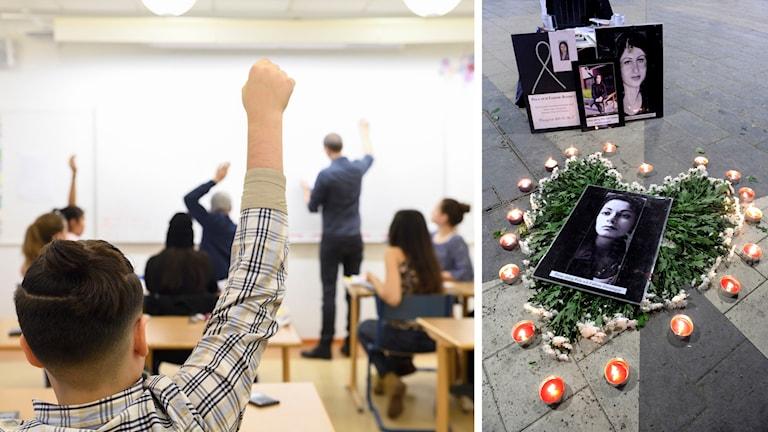 En bild på ett klassrum, samt en bild på Fadime som mördades av sin pappa. Montage.