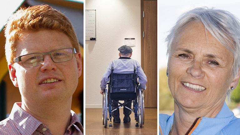 Fredrik Rönning (S) och Lotta Gunnarsson (M), politiker i Smedjebacken, och en äldre man i rullstol.