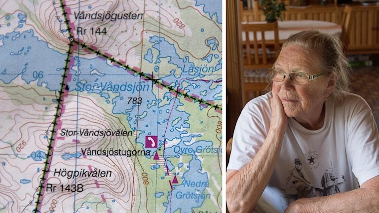 Bild på karta över Våndsjön och Siv Jansson