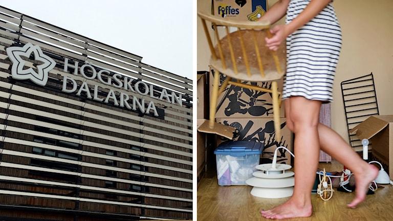 Högskolan Dalarnas fasad i Falun och en kvinna som bär en stol.