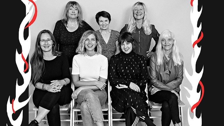 Folkmusikerna Samantha Ohlanders, Sara Parkman, Lena Willemark och Agneta Stolpe