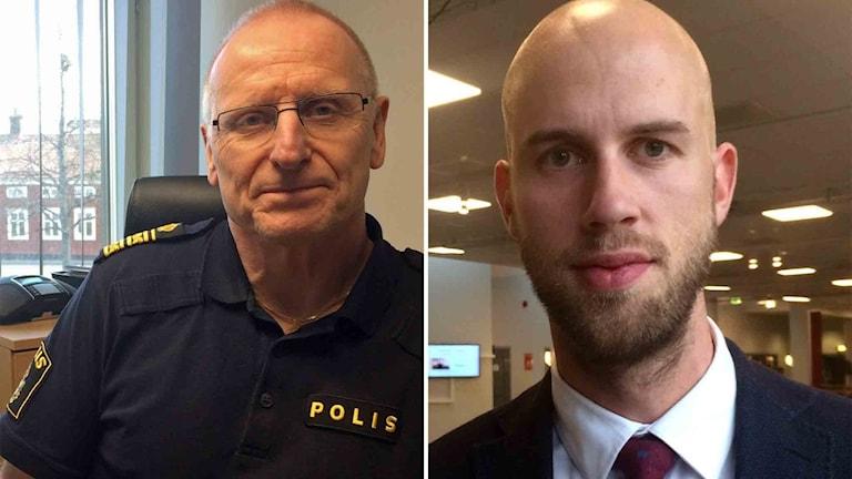 Polisområdeschef Lars Lindahl och riksdagspolitikern Carl-Oskar Bohlin (M)