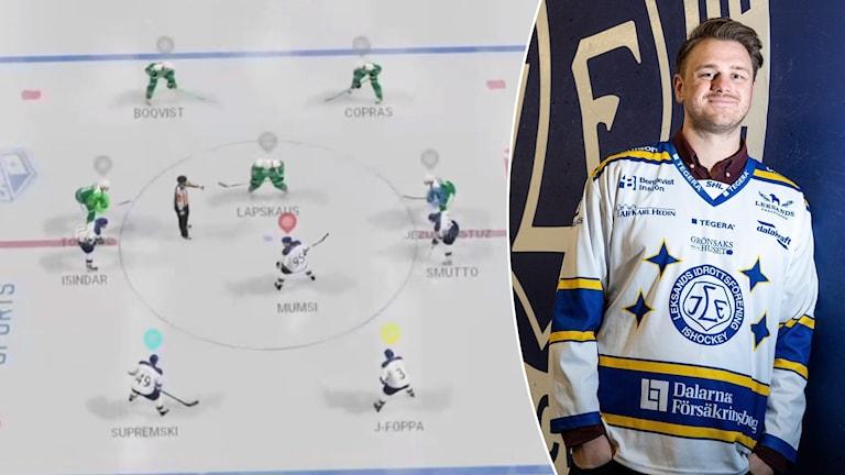 Flera spelare står på isen i ett hockeydatorspel. Calle Hjul står lutad mot en vägg med en Leksands IF-logga i en Leksandströja. Han ler.