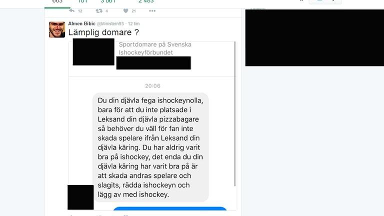 En skämdump på meddelandet som Almen Bibic la ut på Twitter