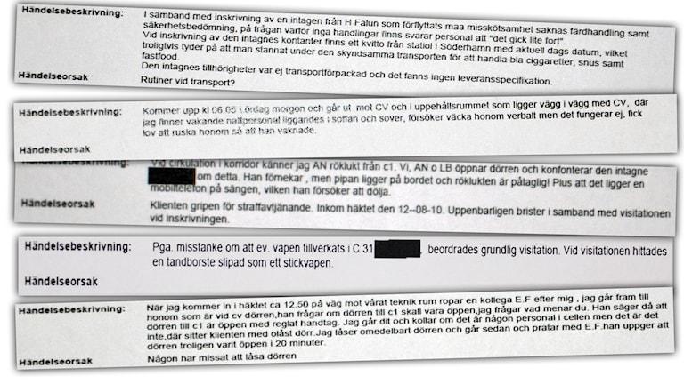 Fem uttdrag från Häktet i Faluns incidentrapporter