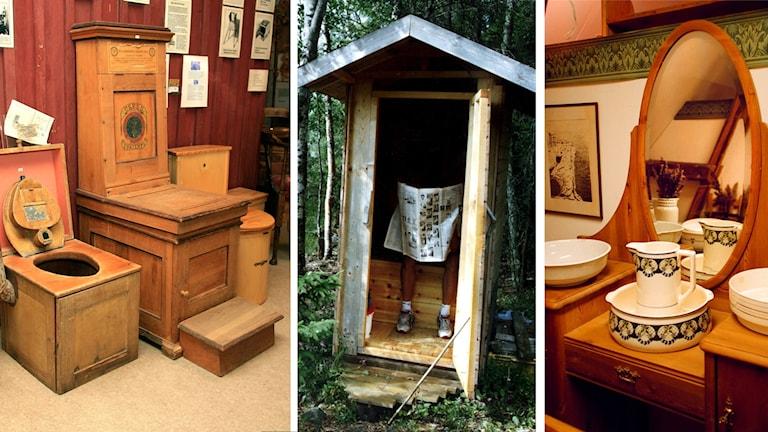 Utedass och gammaldags toaletter samt tvättfat.