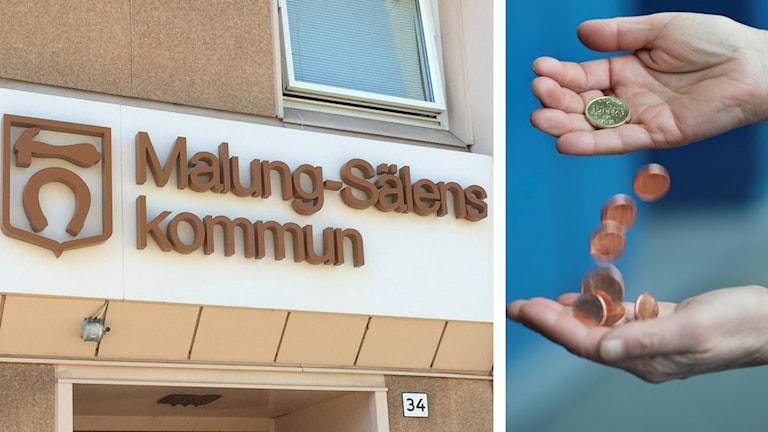 """Dels en bild på texten """"Malung-Sälens kommun"""" på en husvägg, dels en bild på två händer som häller mynt mellan sig."""