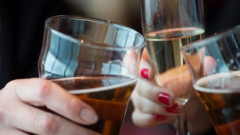 Tre glas med alkohol