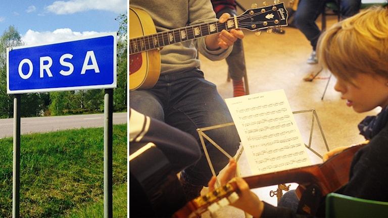 En vägskylt där det står Orsa och en lärare och ett barn som spelar gitarr vid ett notställ.